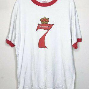 Vintage Seagrams 7 Ringer T Shirt Men's Size X-Lar